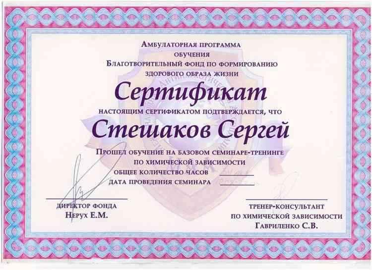 Стешаков - Тренинг по химической зависимости